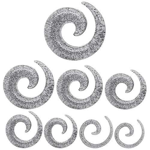 tumundo 1 Set Dehnungssichel Dehnstab Piercing Dehn-Spirale Dehner Dehnschnecke Acryl Glitter Glitzer Silberfarben