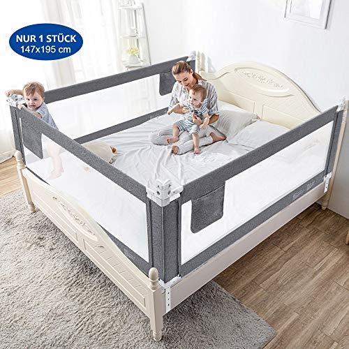 Bettgitter 150cm Bettschutzgitter Kinderbettgitter Babybettgitter Gitter Kinderbett Fallschutz Bett, Grau, 1 Stück Bettgitte [Versand von Amazon]
