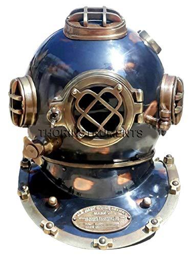 THORINSTRUMENTS (with device) Vintage Design Diving Divers Helmet Solid Steel U.S Navy Mark V Full Size 18