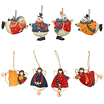 Morning View Cute Christmas Tree Hanging Dancing Resin Snowman Angel Decorative Hanging Snowman Angel Decoration Snowman Tree Ornament Xmas Ornament Holiday Decor for Home Party Set of 8