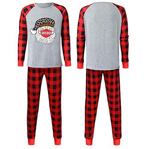 Generic Weihnachten Schlafanzug Familien Pyjama Set Langarm Homewear Zweiteiliger Cartoon-Muster Nachtwäsche Outfit Set für Mutter Vater Kinder