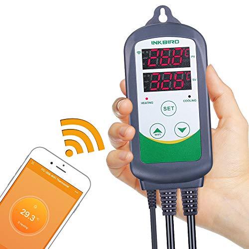 Inkbird ITC-308 Wlan Temperaturregler, Digitaler Thermostat, Fernüberwachungstemperatur für Homebrew, Reptilien, Gewächshaus, Inkubation.
