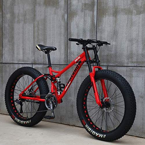 XHJZ Mountain Bike, 24' 26 Pollici Fat Tire Hardtail Mountain Bike, Sospensione Doppia Telaio e sospensioni Forcella all Terrain Mountain Bike,Rosso,24 inch 24 Speed