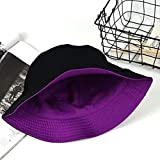 ZqiroLt Cappello Da Pescatore Reversibile In Cotone Piatto Tinta Unita Fisher Hat Sun Women Nero + Viola