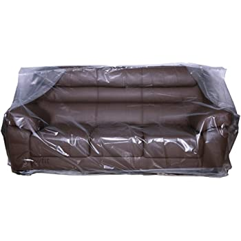 Wowfit Furniture Cover – Dust-Proof Moving Bag for Sofa, Moving Boxes – Clear & Odorless Plastic Bag for Moving – 4mil Thick Sofa Cover(Not Include Tape) – 92W x 42D x 62/41H Inches