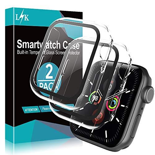 L K 2 Pezzi Custodia+Protezione Schermo per Apple Watch 44mm Series 6/5/4/SE - Cover Compatibile per iWatch Full Protettivo TPU Caso 44mm