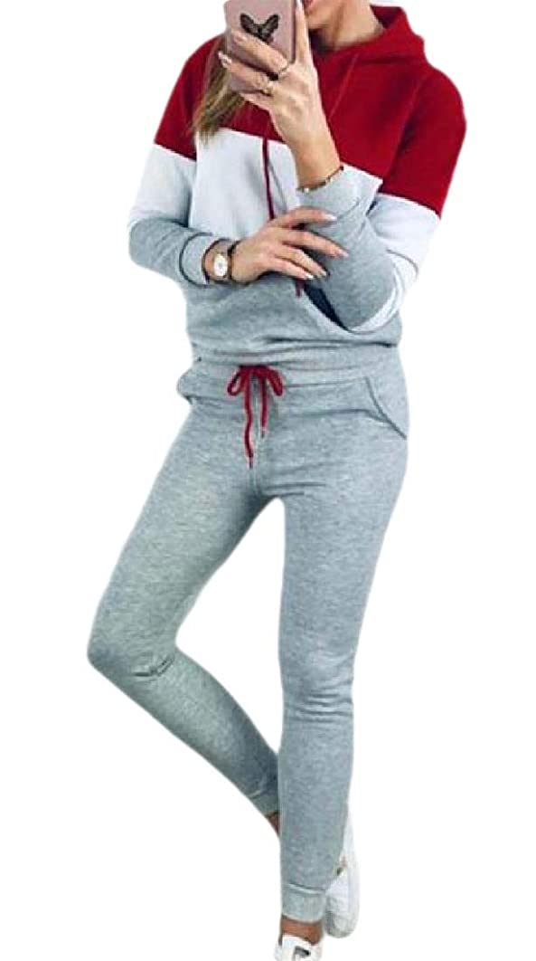 ジェスチャー一緒にいいねWomens 2-Piece Long Sleeve Tracksuit Sets Colorblock Hoodie Sweatpants