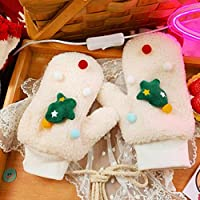 手袋暖かい秋と冬のかわいいクリスマスの厚いプラスベルベットの防風完全な指の手袋 (Color : White, Size : F)