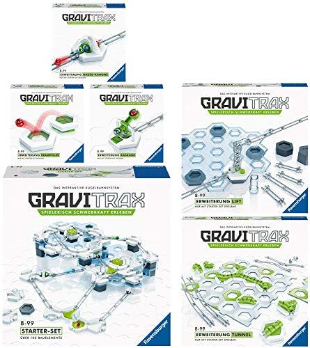 Ravensburger GraviTrax 6er Set 27590 27594 27611 27612 27613 27614 Starter-Set + Gauß-Kanone + Lift + Kaskade + Trampolin + Tunnel