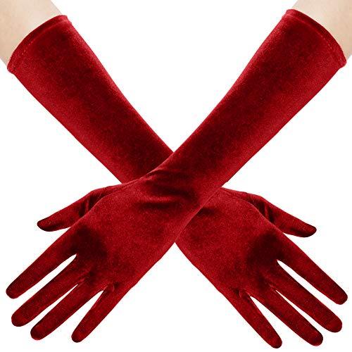 BABEYOND Guantes de terciopelo para mujer, largo/cortos, para fiestas, Audrey Hepburn, de los aos 20 3 rojos, 38 cm Talla nica