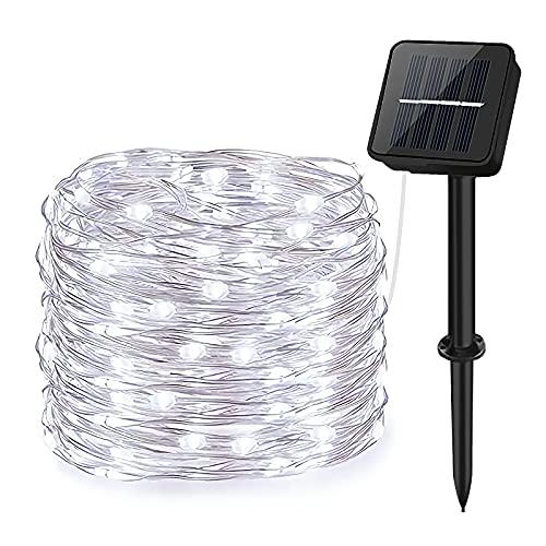 Guirnaldas Luces Exterior Solar, aifulo 20m 200 LED Cadena de Luces, 8 Modos Impermeable Iluminación Decoración para Navidad,Terraza,Fiestas,Bodas,Patio,Jardines,Festivales ✅