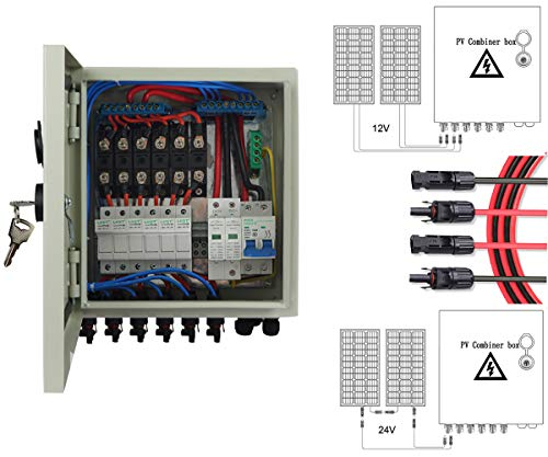 ECO LLC 6 String PV Combiner Box with 6 Sets 12AWG 16 Feet Solar Panel Extension Cable Kit