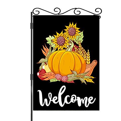 BEAGAR Pumpkin Sunflower Welcome Garden Flag Thanksgiving Primitive Autumn Harvest Decorative, Double Sided Halloween Seasonal Outdoor Flag Decor for House Yard 12.5 x 18