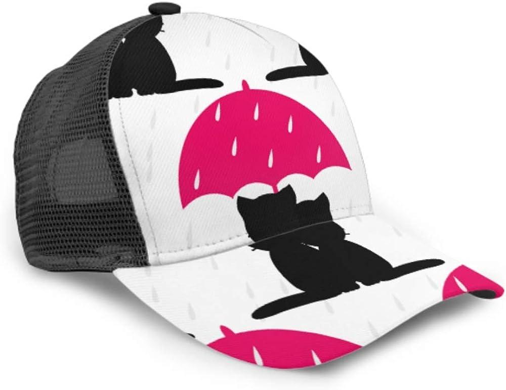 Baseball Cap Cats Umbrella Rain Flat Adjustable Mesh Unisex Baseball Cap Trucker Hat Fits Men Women Hat
