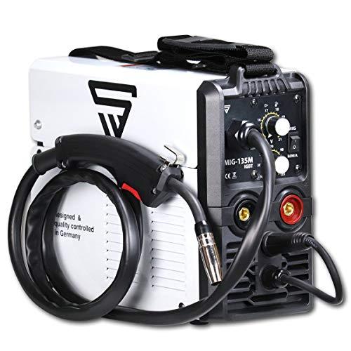 STAHLWERK MIG 135 M IGBT - Saldatrice MIG MAG da 135 Ampere, con gas di protezione, adatta a filo di riempimento FLUX, con MMA E-Hand, colore bianco