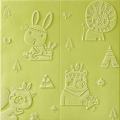 H&RB PE-Schaum-DIY Wand-Paneele, Nette Karikatur-Self-Adhesive Wandaufkleber Für Schlafzimmer Baby-Raum Kinderzimmer Wohnzimmer 70 X 70Cm,09,1PCS