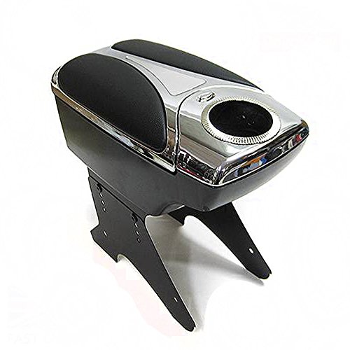 Boloromo 48011 Apoyabrazos Consola Central Reposabrazos Tuning Acolchado Soporte Caja de Consola Negro Cromo