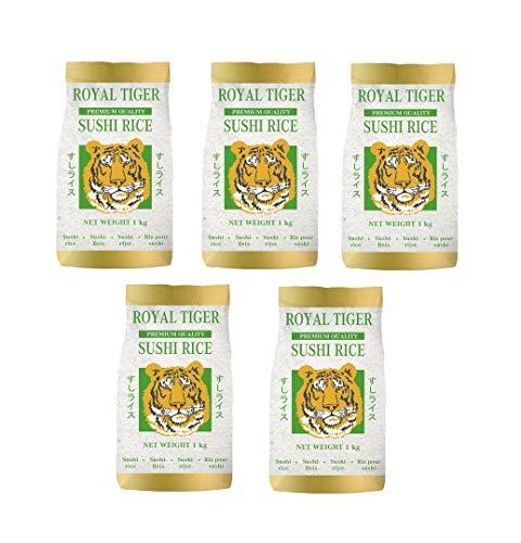 Royal Tiger - Sushireis Reis aus Portugal - Risottoreis - Rundkorn - Sushi - Risotto, 5er Pack (5 x 1kg)