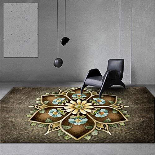 RUGMYW Morbidi Tappeto Moderno Salotto Motivo Floreale Effetto 3D Marrone Grigio Giallo Blu tappeti Neonati Gattonamento 80X160cm