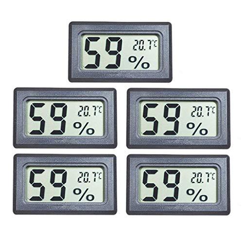 Xisimei 5pcs Thermometer Hygrometer Innen Digitales Thermo-Hygrometer Innen Hydrometer Feuchtigkeit Temperatur und Luftfeuchtigkeitsmesser für Babyraum, Büro, Wohnzimmer, Raumluftüerwachtung