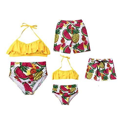 Maillot de Bain à Motif de Fruits Orange et Assortiment de pastèque à l'ananas, Maman et Fille Dos Nu Col Tops Taille Haute Bas Bikinis, Shorts de Bain Papa et Garçon