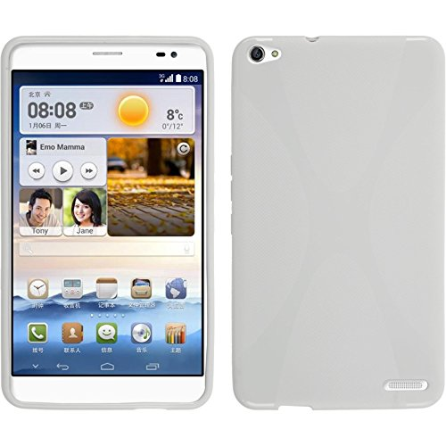 PhoneNatic Hülle kompatibel mit Huawei MediaPad X1 - weiß Silikon Hülle X-Style + 2 Schutzfolien