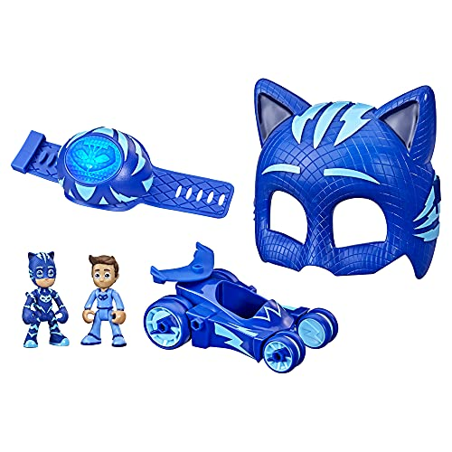 PJ-Masks Catboy Power Pack Preschool Toy Set with 2 PJ-Masks-Action-Figures, Vehicle, Wristband, and-Costume-Mask for Kids Ages 3 and Up