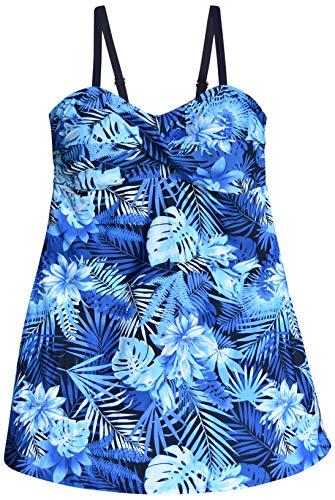 Heat Womens Plus Size Swimdress Swimsuit Twisted Front Swimwear (24 Plus, Blue Sea Dreams)