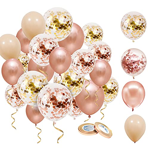 NHHEO Palloncini Oro Rosa, 50 Pezzi Palloncini Rosa Gold per Compleanno, Matrimonio, Baby Shower, Laurea, Cerimonia Party Decorazioni (Oro Rosa)