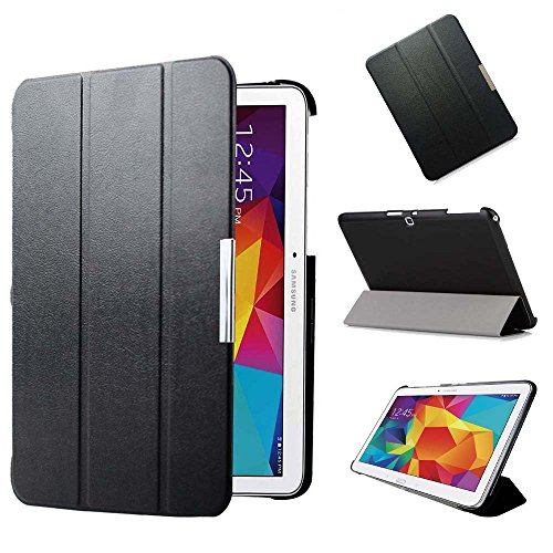 KUESN SM-T530 T531 Smart Cover Case for Samsung Galaxy Tab 4 10.1 Tablet Ultra Slim Flip Folio Pu Leather Stand Case with Magnetic Auto Sleep&Awake up (Black)
