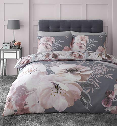 Catherine Lansfield Dramatic Floral Easy Care Double Duvet Set Grey