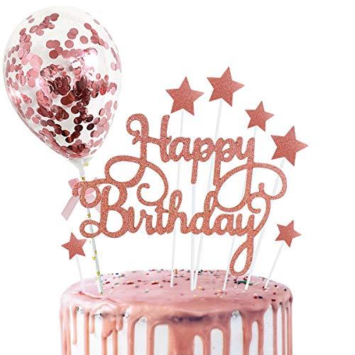 Rorchio Rainbow Cake Toppers Set Happy Birthday Cake Bunting and 6pcs Mini Balloon Sticks Cupcake Toppers for Kids Birthday Cake Decorations