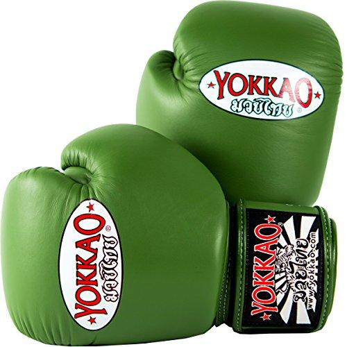 Yokkao Matrix-Rindsleder Kampfsporthandschuhe für Muay Thai, Boxen, Kickboxen und Kampfsport, grün, 12 oz