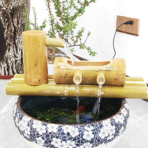 Pillowcase Bamboo Water Zen Garden Fuente de Agua, Adornos de decoración del hogar, Estatua Decorativa de jardín, Decoración de pecera, Escultura para Interior y Exterior Artesanía B 90cm