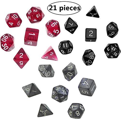 BESTZY 21pcs Dados rol Poliédricos Dados para Juegos de rol y Mesa Dungeons y Dragons