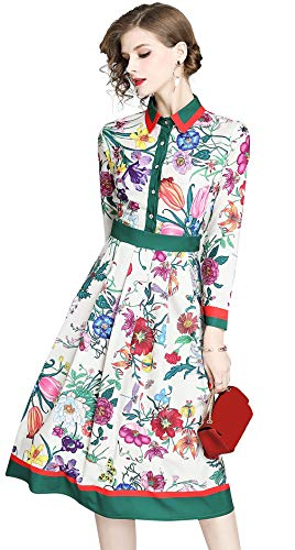 LAI MENG FIVE CATS Women's Floral Print Button up Midi Dress Casual A-line Shirt Dress