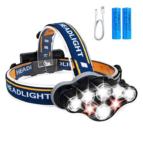 Hezue Linterna Minero Led Cabeza Vincha, Linterna superbrillante de 13000 LMS 8 Leds Bateria,Linterna Frontal LED lámpara de...