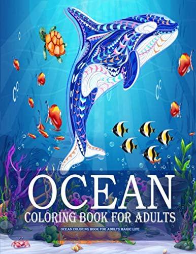 Ocean Coloring Book For Adults Magic Life ea Creatures life Adult Coloring Book with Island product image