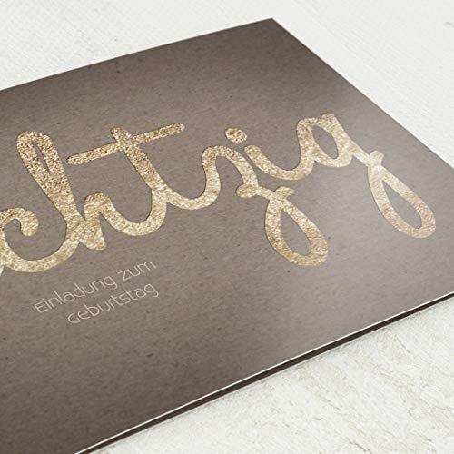 sendmoments Einladungen Geburtstag, Goldene Schrift, 80. Geburtstag 5er Klappkarten-Set C6, personalisiert mit Wunschtext & persönlichen Bildern, optional mit passenden Design-Umschlägen