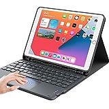 iPad 8世代 キーボード ケース タッチパッド付き ipad 10.2 キーボード ケースiPad7世代キーボード[2020/2019モデル] Bluetooth キーボードカバー オートスリープ 脱着式 多角度調整 傷つけ防止 耐久性 [ペンシルホルダー付き] 最新型スマート軽量 薄型ケースキーボード 丸いキー可愛いキー マグネット付きワイヤレスアイパッド10.2インチキーボード[ iPad 10.2/iPad Air3/Pro 10.5(2017)兼用] ブラック