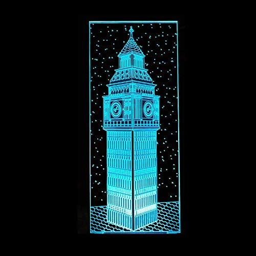 3D Sinfonía luces LED noche luz dormitorio decoración mesita de noche grande Ben colorido visión Londres Elizabeth torre edificio lámpara de mesa bebé sueño regalo 16 colores