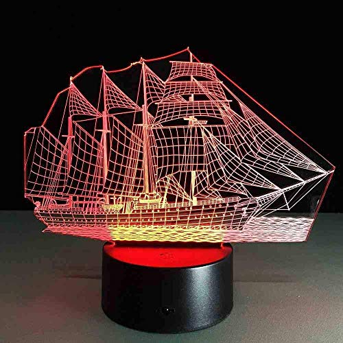 Sailing Boat Acrylic 3D Lamp 7 Color Change Desk Lamp Remote Switch Bedroom Table Lamps