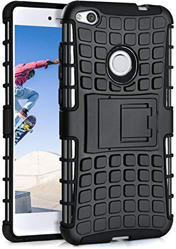 MoEx Huawei P8 Lite 2017 Hülle Silikon Hard-Case Schwarz [OneFlow Outdoor Back-Cover] Extrem Stoßfest Schutzhülle Grip Handyhülle für Huawei P8 Lite/Honor 8 Lite Case Rückseite Tasche