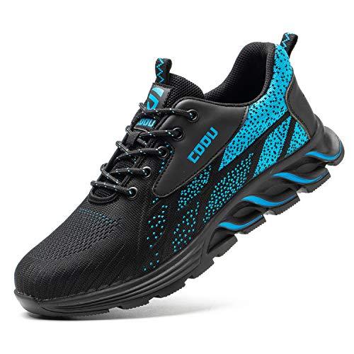 JUDBF Zapatos de Seguridad Hombre Mujer s3 Calzado de Trabajo Ligeros Transpirable Zapatillas de Seguridad con Punta de Acero 8082Blue/41