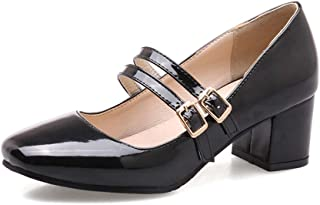 Veveca Women Square Toe Buckle Strap Patent Leather Chunky Mid Heel Retro Dress Shoes Womens Mary Jane Oxford Pump
