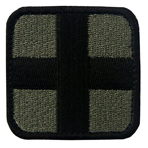 衛生兵 十字 タクティカル刺繍入りマジックテープワッペン オリーブと黒
