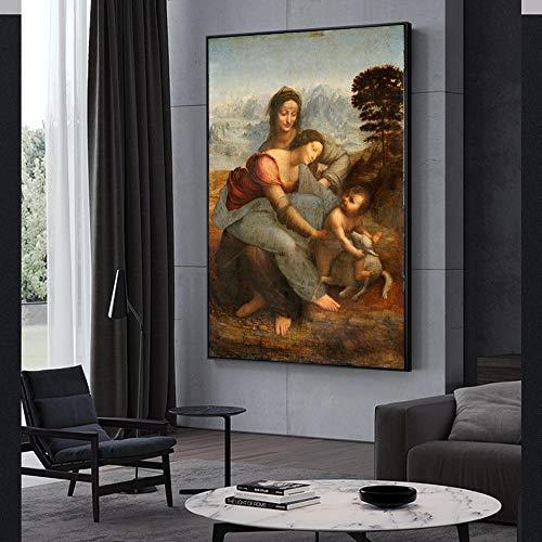 ZJJXM Lienzo De Impresión Cuadro La Virgen Y El Niño con Santa Ana Famoso Arte Pinturas sobre Lienzo Reproducciones Leonardo Da Vinci Arte De La Pared Impresiones Decoración