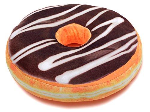 Alsino Donut Kissen Doughnut Dekokissen Sitzkissen Kuschelkissen Donutkissen groß, Variante wählen:Ki-d02 Schokolade