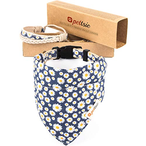 Pettsie Matching Dog Collar & Bandana & Owner Friendship Bracelet, Gift Box Included, Durable Hemp, 2 Adjustable Sizes, Comfortable and Soft, Strong D-Ring for Easy Leash Attachment (S, Blue)
