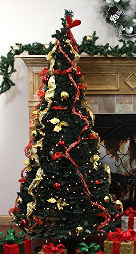 Northlight 31105058 Pre-Lit Pop Up Decorated Red/Gold Artificial Christmas Tree with Clear Lights, 6'
